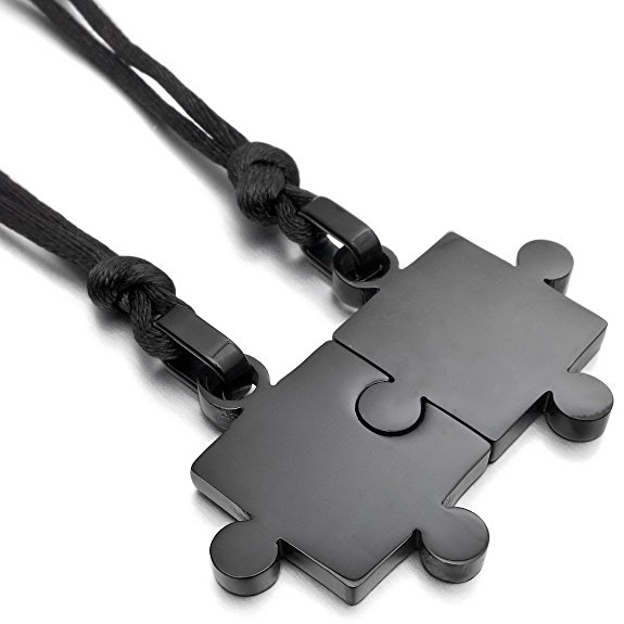 Stainless Steel Couple Pendant Necklace